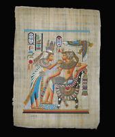 Egyptian Papyrus genuine hand painted Nefertiti offering to King Tut  43x33cm