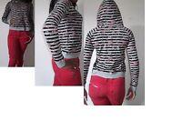 next floral stripe grey print pullover jersey hooded sweatshirt top uk size 6-10