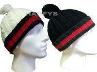 Mens Boys Designer Fashion Bobble Cable Rope Knit Winter Wooly Hat Black Cream