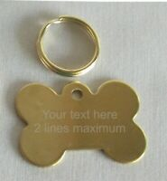 DOG / CAT PET ID TAG Quality Polished Brass Cat or Bone Shape Tag, ENGRAVED FREE