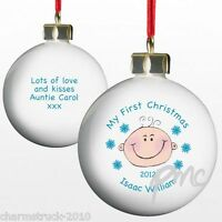 NEW PERSONALISED BABY BOY MY FIRST CHISTMAS KEEPSAKE BAUBLE TREE DECORATION