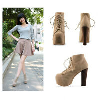 New Womnes Ladies Apricot Lita Platforms High Heels Lace Up Ankle Shoes Boots
