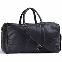 "Black 21"" Hand-Sewn Leather Gym Duffle Bag, Travel Luggage Tote Carry-On Case"