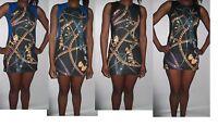 women  bodycon blue black gold stretch chain snake print dress uk size 6-12