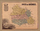 CARTE de FRANCE Puy-de-dôme GRAVURE couleur ancienne 1880 / CFD5