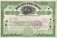 North Butte Mining Company   1905 Montana mine stock certificate