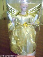 "CHRISTMAS ANGEL TREE TOPPER GOLD DRESS 10 LIGHTS 10"" (25.4 CM)"