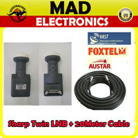 Brand New Sharp Dual Outlet 10700 Twin LNB Foxtel/ Austar + 20m RG6 F TYPE LEAD