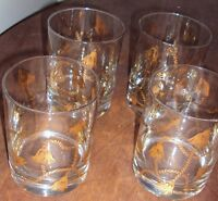 VINTAGE SET OF 4 TUMBLER DRINKING GLASS WITH GOLD DECORATION