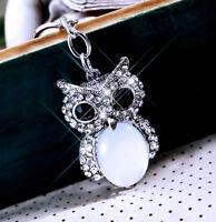 Sparkling Crystal Diamante Stone Silver Owl Charm For Womens Bag Handbag Keyring