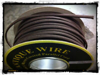 Brown  Parallel Rayon Covered Wire, Antique Style Cloth Lamp Cord, Vintage