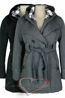 NEW LADIES HOODED BELT WARM WINTER FLEECE JACKET COAT CHARCOAL BLACK 8 10 12 14