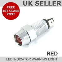 LED Chrome Dash Indicator Warning Light 12v *RED*