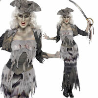 Ladies Ghost Pirate Costume Halloween Fancy Dress Outfit Haunted Walking Dead