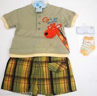Baby boys cute summer sun T-shirt, shorts and socks. 0-3, 3-6 & 6-9 months