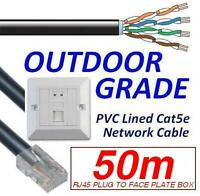 50m OUTDOOR EXTERNAL cat5e Network Ethernet Cable EXTENSION KIT Face Plate Box