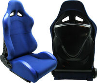 NEW 2 BLUE CLOTH + BLACK BACK COVER RACING SEATS RECLINABLE W/ SLIDER FORD **