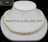 """MP"""" Breathtaking 8-9MM AAA white pearl necklaces 925S"""