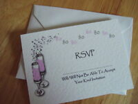 70 PERSONALISED BIRTHDAY RSVP CARD 18th 21st 30th 40th 50th 60th etc champagne