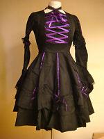 Raven Steampunk Victorian Lolita  womens black purple trim dress 6666