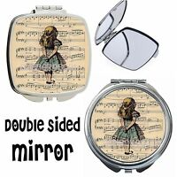 Disney Alice in Wonderland Music Silver Pocket Compact Handbag Make Up Mirrors