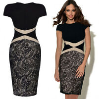 Celeb Womens Ladies Formal Lace Bodycon Pencil Cocktail Party Evening Midi Dress