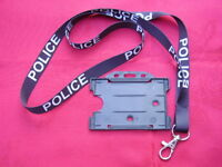 POLICE,SO19,CO19,Black/White Neck Lanyard & B Security ID Pass Card/Badge Holder