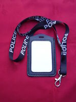 POLICE,SO19,CO19 - Black/White Neck Lanyard+Warrant Card/ID Pass/Badge Holder P