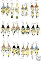 10 BAMBOO STONE EARRINGS HAND MADE PERUVIAN WHOLESALE