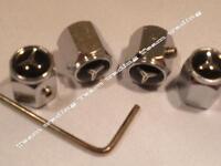 MERCEDES Four BLACK & WHITE Locking Valve Tyre Tire Dust Caps
