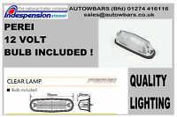 2 WHITE CLEAR FRONT MARKER LAMPS LIGHTS WITH BULB 12v TRAILER CARAVAN TRIKE