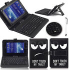 Warning Universal w/ USB Keyboard Stand Leather Case Cover for 7