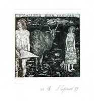 Adam & Eve, Nude, Surrealistic Ex libris Etching by Leonid Stroganov, Russia