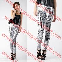 Zebra Print Shiny Metallic Wet Look Leggings Pants Chrome Animal Print Tiger