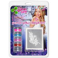 Glitzy Girls Glitter Tattoo Mega Kit! 36 stencils 5 Glitters, Glue & Brushes!