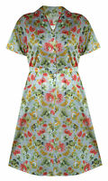 1940'S / 1950'S VINTAGE WW2 GREY FLORAL PLUS SIZE POCKET TEA DRESS SIZE 12 - 24