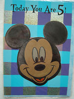 "Vintage Happy birthday card .Age 5 ""Magic Effects"" Mickey for Kids by Kingsley"