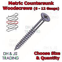 Metric Woodscrews Countersunk Zinc Plated Wood Screws 6 7 8 10 12 Gauge BZP