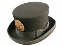 Steampunk/victorian black top hat with gold clockface