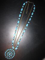 Halskette Kette mit vielen türkisfarbenen Steinen Modeschmuck