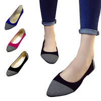 Women's Suede Pointy Toe Ballet Flat Shoes Multi-clolored Casual Slip On Loafers