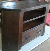 Rustic Plank Pine Furniture Real Solid Wood CORNER TV STAND ENTERTAINMENT UNIT