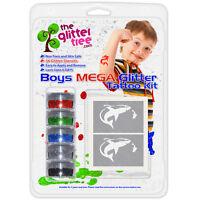 Boys Glitter Tattoo Mega Kit! 36 stencils 5 Glitters, Glue & Brushes!