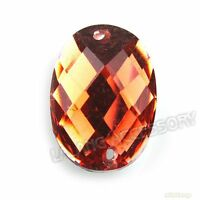 500x Lots Crystal Red Oval Faceted Charms Resin Flatback Buttons Sewing Crafts C