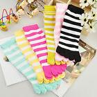 Lot 1/6 Pairs Women's Girl Colorful Ankle Length Stripes Five Finger Toe Socks