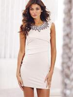Lipsy Nude JD01296 Embellished Pencil Bodycon Evening Party Dress