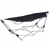 Portable Folding Hammock Beach Lounge Camping Bed Steel Frame Stand W/Bag