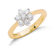 Diamond Ring White Gold Flower Cluster Engagement Certificate
