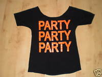 Black Orange Party Logo Short Sleeved Summer Holiday Fun Tunic Top Size 12-14