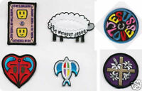 12 CHRISTIAN Iron on PATCH for hat, bible cover, jacket - Lamb Dove Cross Heart
